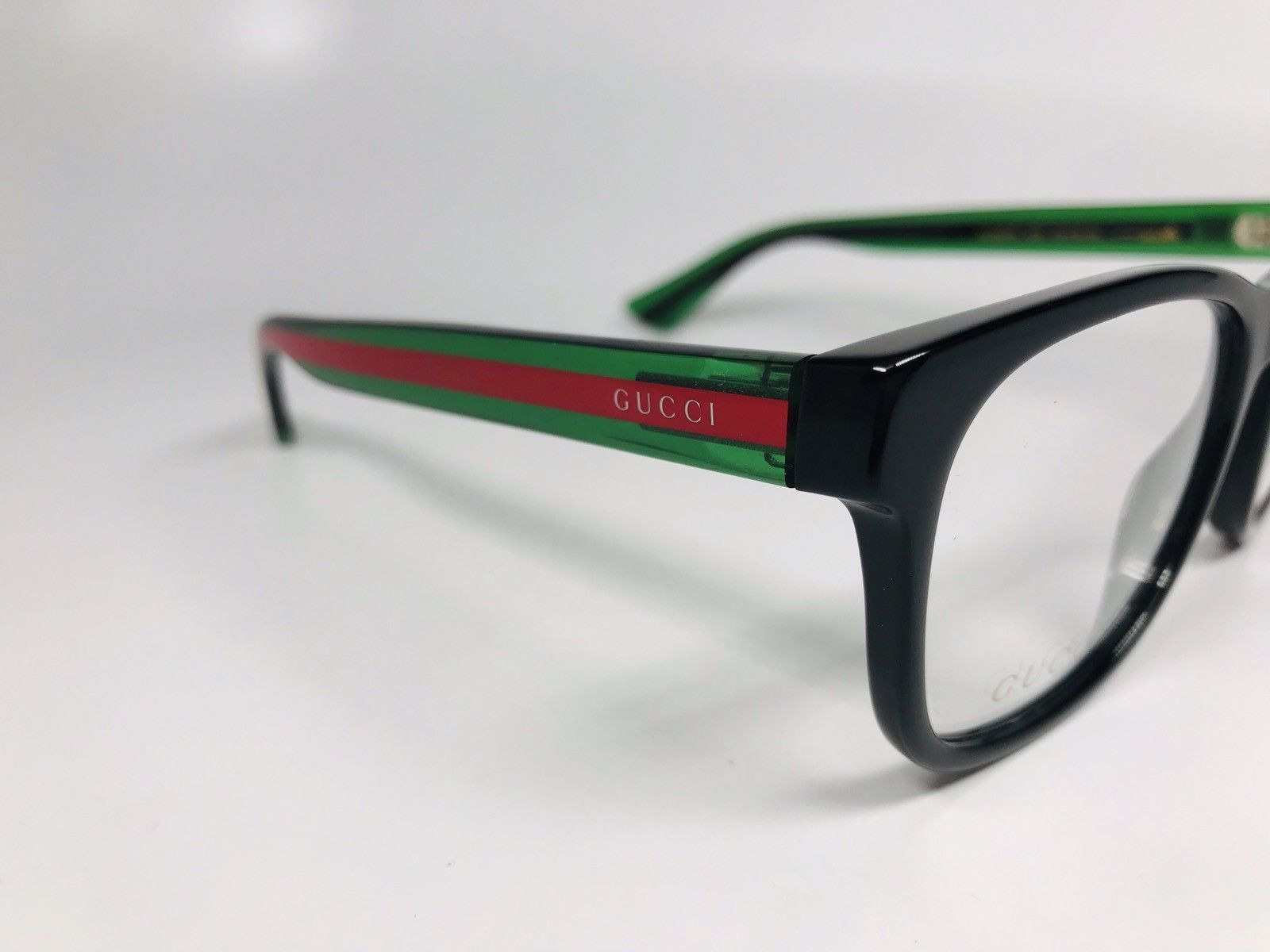 a14ce320d3 New Authentic Gucci GG0004O 002 Black   Green Eyeglasses 53mm with Case