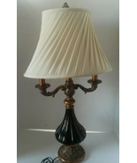 Tortoise Shell Glass & Antiqued Gold Colored Resin 2 Arm Table Lamp 3 Wa... - $126.09