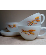10 Each Fire King White Tea Coffee Cup and Saucer Golden Wheat Set - $39.55