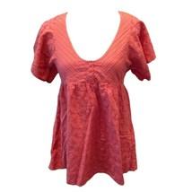 BCBGeneration Womens Pink Eyelet Scoop Neck Short Sleeve Empire Top Sz XS - $12.87
