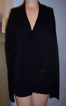 Nic + Zoe $108 Black Faux Wrap w/ Buckle Slouchy Knit Top Sz XL (est) EUC - $42.08