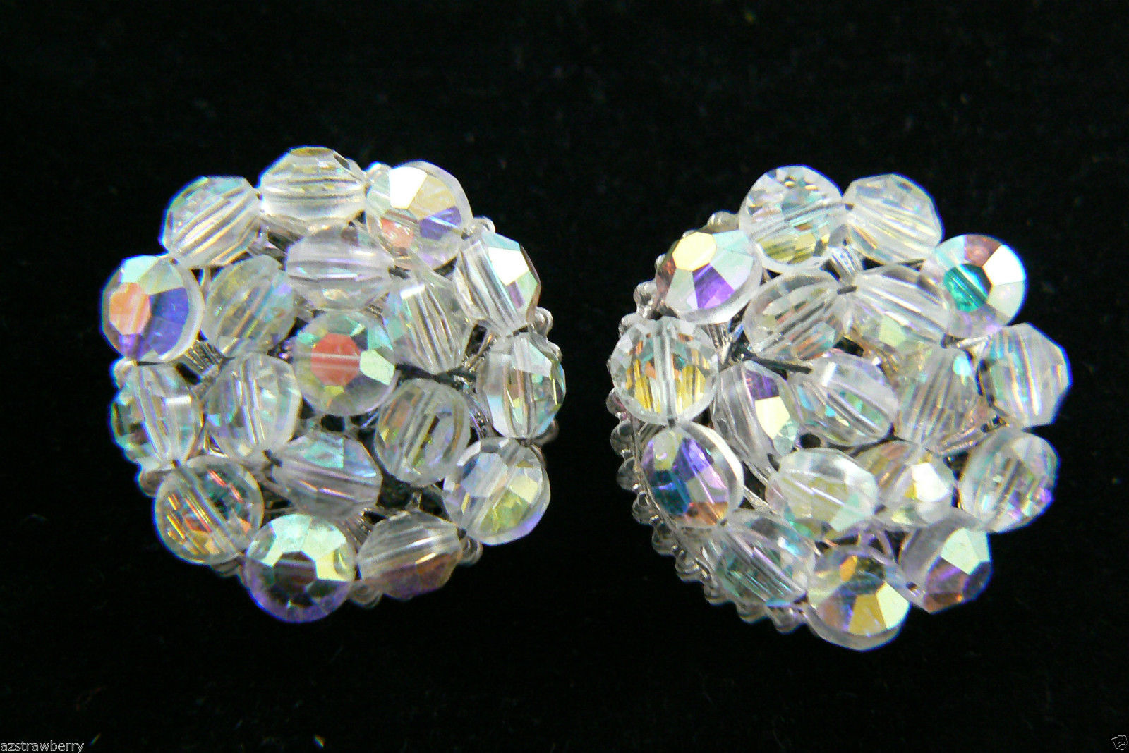 Primary image for Vintage Aurora Borealis Crystal beads Cluster Silver tone clip on Earrings $0 sh