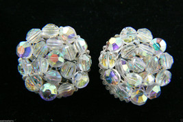 Vintage Aurora Borealis Crystal beads Cluster Silver tone clip on Earrin... - $47.48