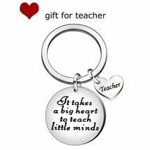 Fashion Keychain Letter Heart Round Pendant Key Ring Holder Teacher Day ... - $8.05