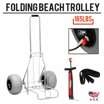 Folding Beach Cart by Wheel Rolling Caddy Large Heavy Duty 165 lbs. Capa... - $155.00