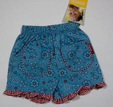 OSHKOSH BABY NWT GIRLS SHORTS INFANT SIZE 0-3M BLUE FLORAL RED GINGHAM NEW - $7.56