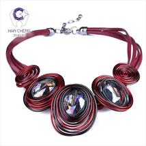 HanCheng New Fashion Leather Rope Handwork Created Crystal Choker Neckla... - $286,84 MXN