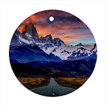 Patagonia Andes Mountain Round Porcelain Ornament - Holiday Seasons - $7.71