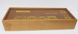 Peruvian Wood Train Set Hand Crafted Carry Case LIGNO Producto Peruano 3... - $125.00