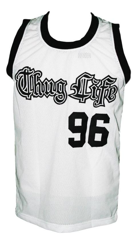Tupac shakur  96 thug life custom basketball jersey white   1