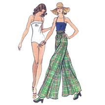 70s Vintage Vogue Sewing Pattern 8881 Misses One Piece Swimsuit Palazzo Pants 14 - $14.95