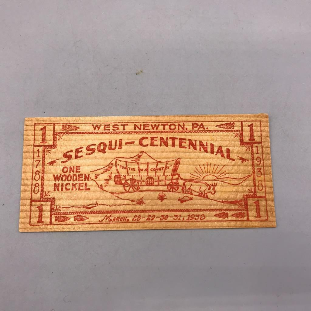 Primary image for Vintage en Bois Nickel Ouest Newton Sesquitennial 1938 Pennsylvania