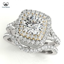14k White Gold Plated 925 Silver Engagement Bridal Ring Set In Round Cut Diamond - $92.99