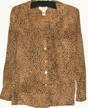 Women's Brown 100% Silk Button Down Blouse Size 2 P - $8.00