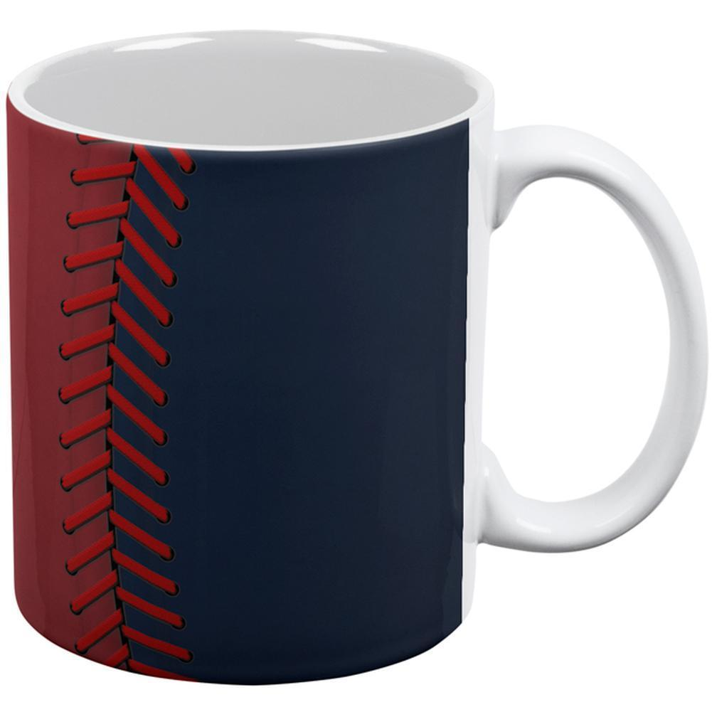 Baseball League Red and Navy Blue All Over Coffee Mug