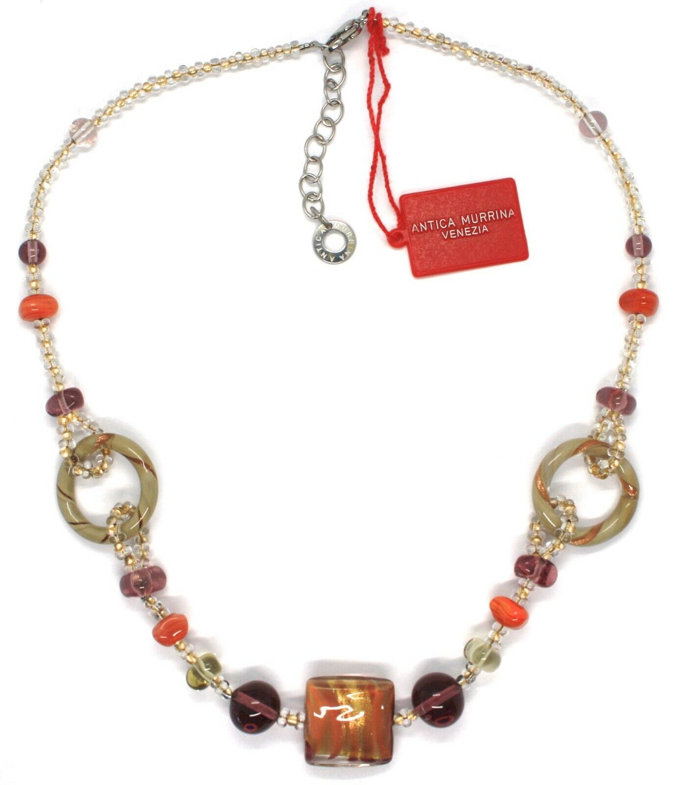 Necklace Antique Murrina,CO666A25,Circles,Squares,Spheres,Orange Glass Murrano