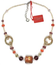 Necklace Antique Murrina,CO666A25,Circles,Squares,Spheres,Orange Glass Murrano image 1
