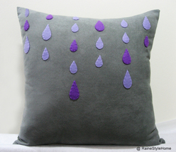 Purple Rain Grey Rainy Days Grey Pillow Cover. Modern Decorative Raindrops - $38.90