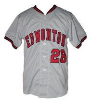 Custom Name # Edmonton Trappers Retro Baseball Jersey Button Down Grey Any Size image 3