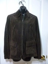 Liz Claiborne Womens Collared Chocolate Brown Suede Leather Jacket, Size M - $15.40