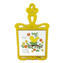 Vintage Bright Yellow Trivet of Bird in Nest Tile and Cast Iron by Lorri... - $21.50
