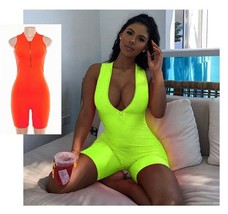Sexy Women Play Suit Cryptographic Zipper V Neck Sleeveless Bodycon or J... - $20.67