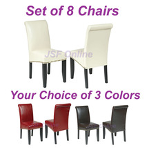 Set of 8 Eco Leather Dining Room Parsons Chairs w/ Nail Head Trim - 3 Co... - $736.00