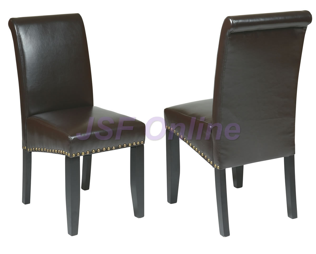 Set of 8 Eco Leather Dining Room Parsons Chairs w/ Nail Head Trim - 3 Colors