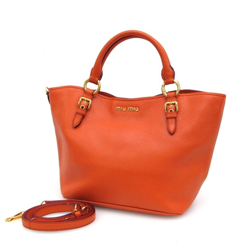 5e3286e6d2a Miu Miu 2WAY Hand Bag Shoulder Bag Orange Rare Brand Goods Japan Free  Shipping -  636.51