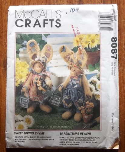 Primary image for McCall's Crafts 8087 Stuffed Bunny & Clothes Pattern 16 inch