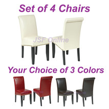 Set of 4 Eco Leather Dining Room Parsons Chairs w/Nail Head Trim -3 Colo... - $368.00