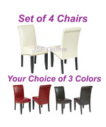 Set of 4 Eco Leather Dining Room Parsons Chairs w/Nail Head Trim - 3 Colors - $368.00