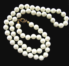 GLASS Faux PEARL Bead NECKLACE Vintage 14K GE Single Strand, Signed WLIND - $16.99