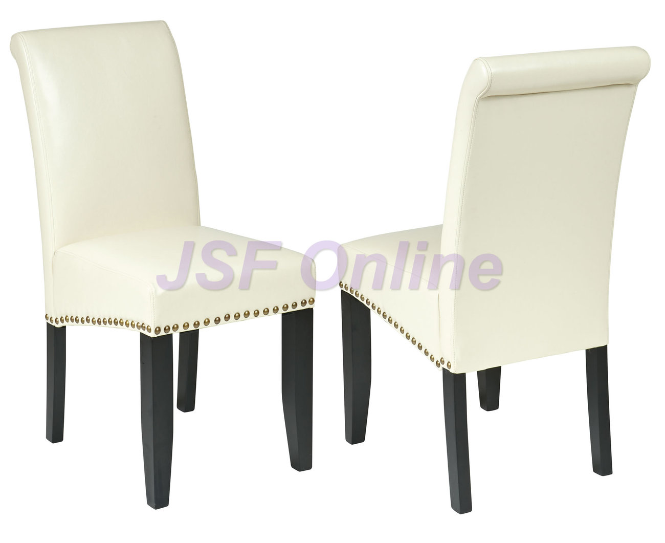 Set of 4 eco leather dining room parsons chairs w nail for Dining room head chairs