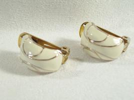 CREAMY WHITE n Gold Half HOOP Earrings Enamel Clip Classic Vintage Estat... - $12.86
