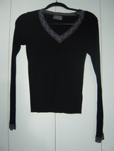 Michael Stars Long Sleeve Black V-Neck with Lace Trim EUC - $20.00