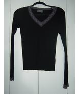 Michael Stars Long Sleeve Black V-Neck with Lace Trim EUC - $20.00