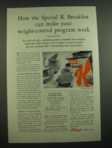 1962 Kellogg's Special K Cereal Ad - make your weight-control program work - $14.99