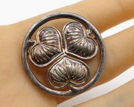 MMA 925 Silver - Vintage Round Love Heart Leaf Detail Brooch Pin - BP1521 - $43.57