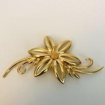 Large Vintage Monet Goldtone Flower Flourish Brooch Pin J0822 - $20.90