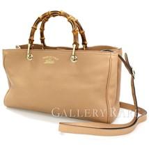 GUCCI Bamboo Shopper Medium Leather Pink Beige Handbag 323660  Authentic... - $805.47