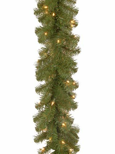 National tree 9 Foot by 10 Inch North Valley Spruce Garland with 50 Battery Oper