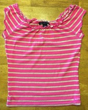Abercrombie & Fitch Women's Pink & Brown Striped Short Sleeve Shirt - Si... - $13.36