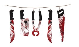 Bloody Weapon Garland Banner Bunting Tools Blood Stains Halloween Decora... - $1.28