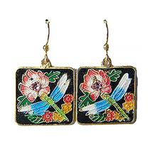 "GT Cloisonne' 1"" Dragonfly/Pink Crystal Square Drop Earrings - $26.99"
