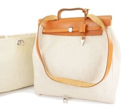 Auth HERMES Her Bag 2 in 1 Beige Canvas and Leather Hand Shoulder Bag #2... - $775.00
