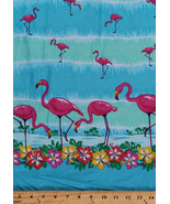 Pre-Smocked Sundress Fabric Flamingos Hawaiian Flowers Floral By Yard A4... - $12.97