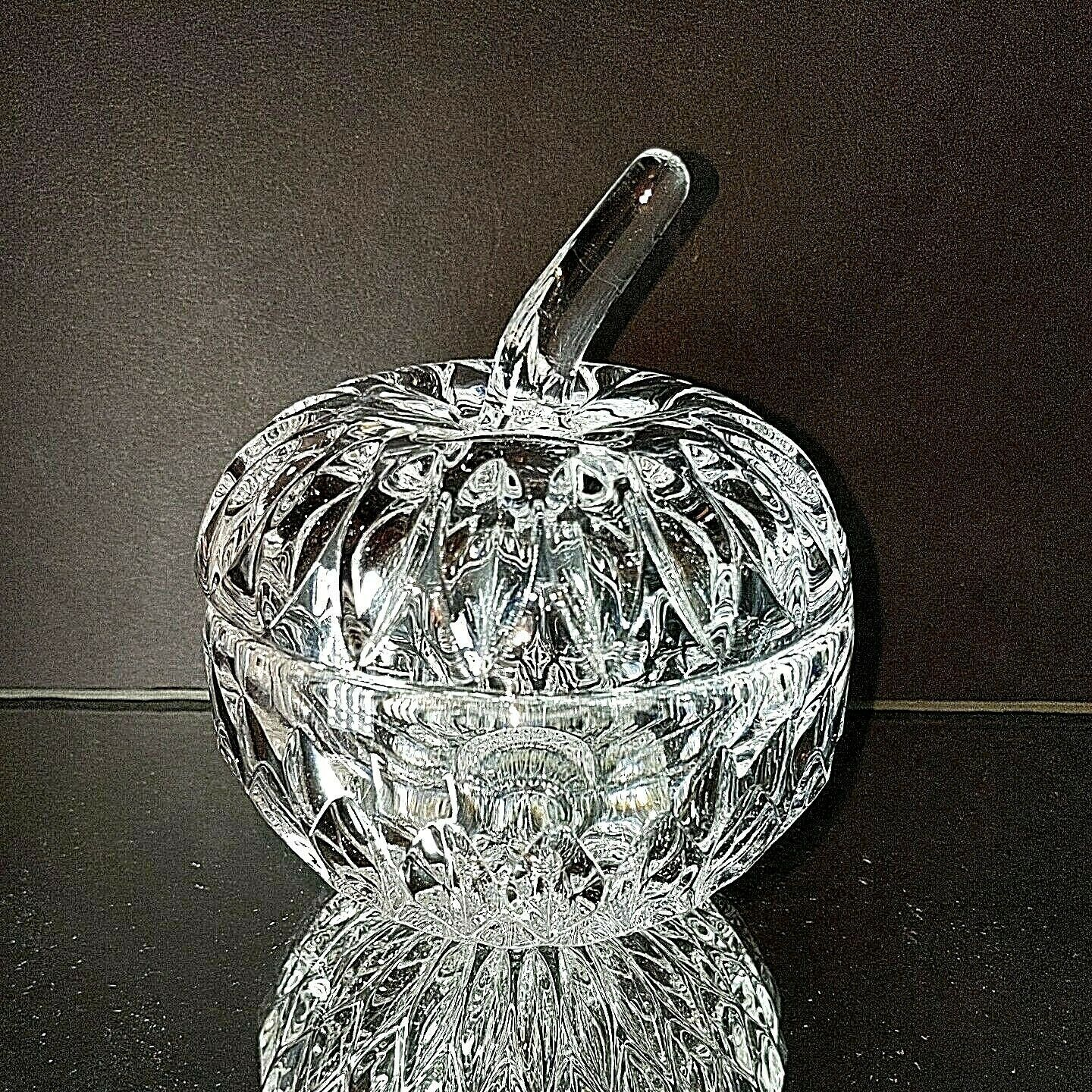 1 (One) GORHAM ALTHEA Lead Crystal Apple Trinket Box LARGE Made in Germany