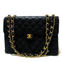 AUTHENTIC CHANEL CC Jumbo Matelasse 30 Shoulder Bag Black Caviar Leather - $4,360.00