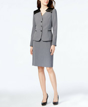 New! TAHARI ASL ~Size 2~ Faux Leather Trim Skirt Suit 2-Piece Gray Retai... - $120.99